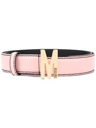 Moschino M Buckle Leather Belt Pink