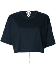 Diesel Black Gold Woven Tie Back Cropped T Shirt Blue