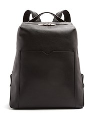 Valextra Grained Leather Backpack Black
