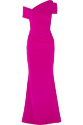 Talbot Runhof Moa One Shoulder Ruched Stretch Crepe Gown Fuchsia