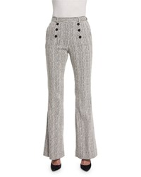 Carven Tweed High Rise Flare Fantasy Pants Marine Ecru Marine And Ecru