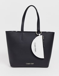 Calvin Klein Jeans Leather Look Shopper With Purse Black