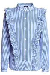 Raoul Ruffled Striped Cotton Poplin Shirt Blue