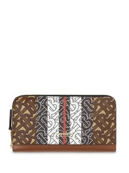 Burberry Monogram Stripe E Canvas And Leather Ziparound Wallet Brown