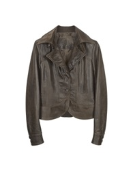 Forzieri Brown Leather Two Button Jacket
