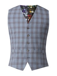 Gibson Men's Charcoal Waistcoat With Apricot Check Blue