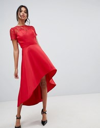 Chi Chi London High Low Hem Midi Dress With Lace Sleeves In Red