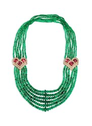 Mellerio Diamond Tourmaline Deco Emerald Necklace Green