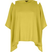 River Island Womens Yellow Cut Out Shoulder Cape Top