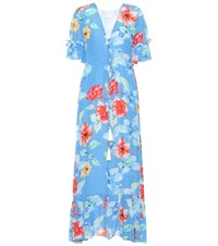 Athena Procopiou Floral Printed Silk Dress Blue