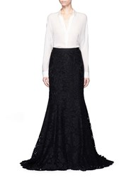 Oscar De La Renta Floral Lace Mermaid Skirt Black