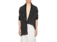 Haider Ackermann Striped Wool Blend Robe Cardigan Black