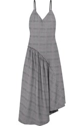 Cedric Charlier Asymmetric Faux Leather Trimmed Plaid Cotton Dress Light Gray