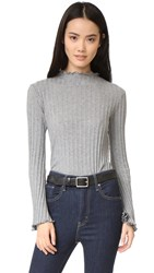 Enza Costa Ruffle Neck Sweater Grey
