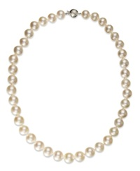 Macy's Pearl Necklace 14K White Gold White Cultured South Sea Pearl Strand Necklace 10 12Mm