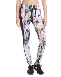 Karen Kane Active Abstract Print Leggings Floral Washout Contrast Black