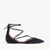 J.Crew Suede Lace Up Pointed Toe Flats