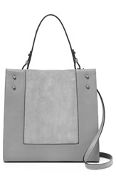 Botkier Park Slope Leather And Suede Satchel Grey Silver Grey