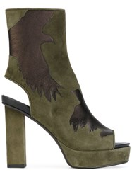 A.F.Vandevorst Cut Out Detail Boots Women Goat Skin Leather 39 Green