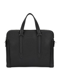 Salvatore Ferragamo Firenze Studded Leather Briefcase Black