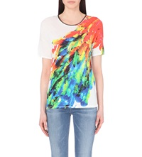 Karen Millen Feather Print T Shirt Grey