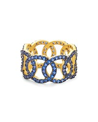 Freida Rothman Baroque Circle Link Ring Blue Gold