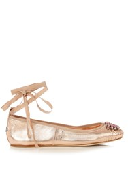Jimmy Choo Grace Embellished Leather Ballet Flats Rose Gold