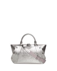 Akris Aimee Small Metallic Hammered Leather Satchel Bag Silver