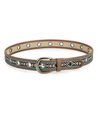 Steve Madden Embroidered Faux Leather Belt Brown
