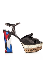 Saint Laurent Candy Ostrich Leather And Calf Hair Sandals