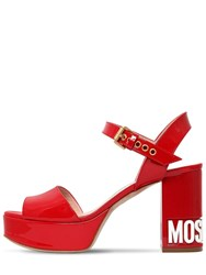 Moschino 90Mm Logo Patent Leather Sandals Red