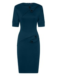Hotsquash Button Ponte Dress In Clever Fabric Teal