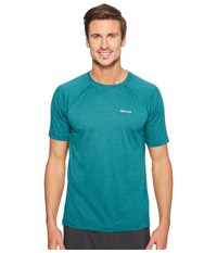 Marmot Accelerate Short Sleeve Deep Teal Heather Men's Clothing Blue