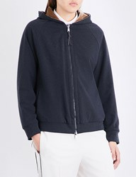 Brunello Cucinelli Reversible Stretch Jersey And Velvet Hoody Charcoal Gold