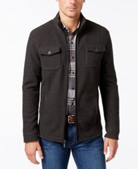 Tasso Elba Men's Fleece Twill Jacket Only At Macy's Charcoal Heather