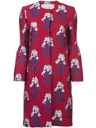 Carolina Herrera Floral Coat Red