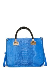 Carla Ferreri Croc Embossed Leather Handbag Blue