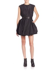 Vera Wang Belted Taffeta Bubble Dress Black