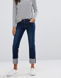 Vero Moda Turn Up Straight Leg Jeans Dark Blue Navy