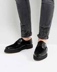 Asos Lace Up Shoes In Black Leather With Creeper Sole Black
