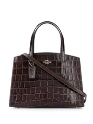 Coach Charlie Croc Effect Tote Brown
