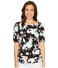 Ellen Tracy Double Hem Tee Floral Multi Women's T Shirt