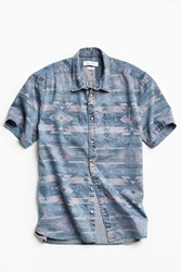 Urban Outfitters Uo Southwestern Denim Short Sleeve Button Down Shirt Purple