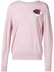E. Tautz 'Embroidered Fine Gauge Crewneck' Sweater Pink And Purple