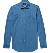Tod's Slim Fit Garment Dyed Cotton Chambray Shirt Blue