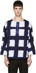 Sasquatchfabrix. Navy Tie Dye Check Long Sleeve Shirt