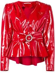 Alessandra Rich Plastic Belted Jacket Red