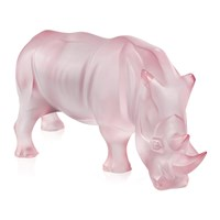 Lalique Rhinoceros Sculpture Limited Edition Pink Luster