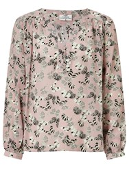 Pyrus Florence Butterfly Print Silk Blouse Pink