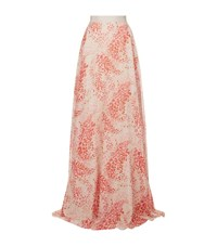 Giambattista Valli Abstract Floral Silk Maxi Skirt Female Pink